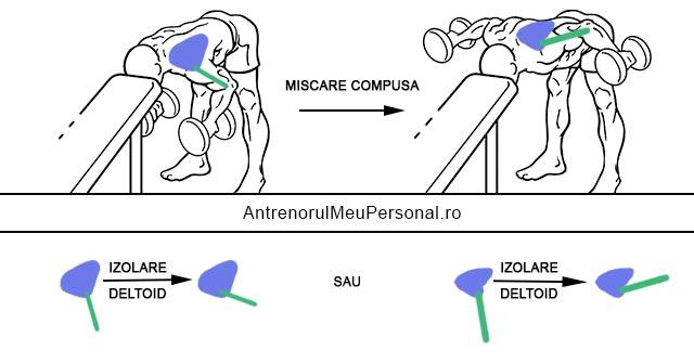 Exercitii umeri - izolare deltoid fata de trapez la fluturari