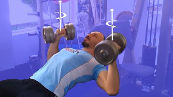 Exercitii Piept cu Gantere - Impins cu Rotatie